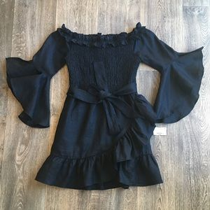 NWT Impeccable Pig Black OTS Ruched Ruffle Dress